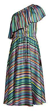 Milly Women's Rainbow Stripe One-Shoulder Dress - Size 0