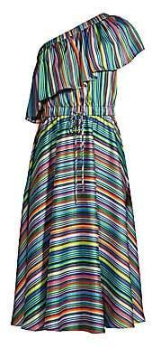 Milly Women's Rainbow Stripe One-Shoulder Dress - Size 0