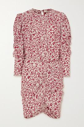 Etoile Isabel Marant Selwyn Ruched Printed Crepe De Chine Mini Dress - Red