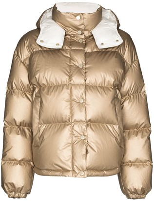 Moncler Metallic Hooded Puffer Jacket