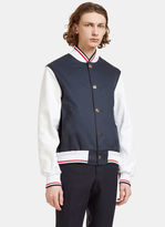 Thom Browne Men's Leather Sleeved Varsity Bomber Jacket In Navy