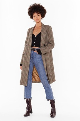 Nasty Gal Womens Longline Coming Check Double Breasted Coat - Khaki