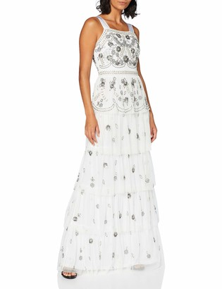 Frock and Frill Women's Irina Thick Strap Embellished Frill Layered Maxi Dress Party