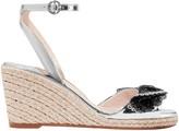 Sophia Webster Laser-cut Appliqued Mirrored-leather Wedge Espadrille Sandals