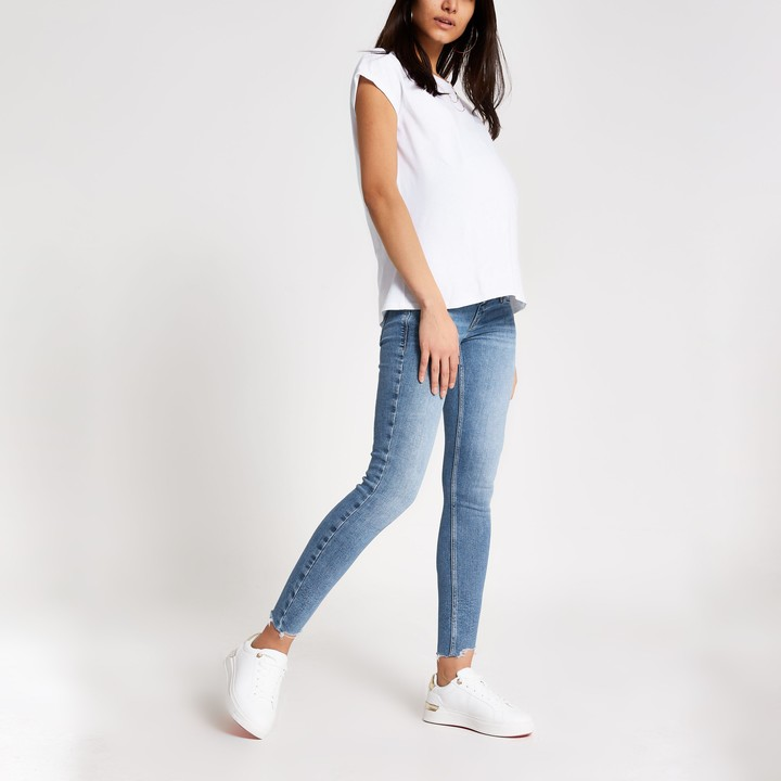 River Island Womens Blue Amelie overbump maternity jeans