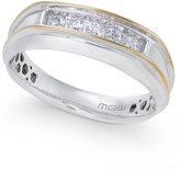 Macy's Men's Diamond Two-Tone Five-Stone Ring (1/4 ct. t.w.) in 10k Gold & White Gold