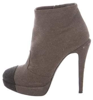Chanel Metallic Cap-Toe Boots