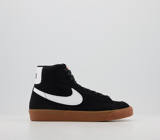 Nike Blazer Mid 77 Trainers Suede Black White Gum Brown Total Orange