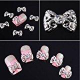 350buy 10 x Silver 3D Alloy Rhinestones Bow Tie Nail Art Glitter Slices DIY Decorations