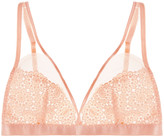 Mimi Holliday Mesh-paneled embroidered lace soft-cup triangle bra
