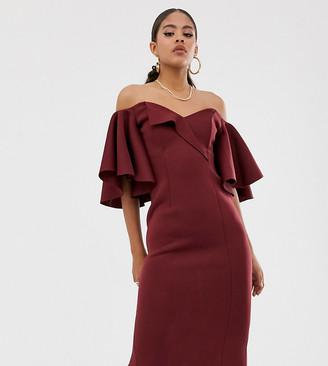 Bardot Asos Tall ASOS DESIGN Tall cape flutter midi dress-Purple