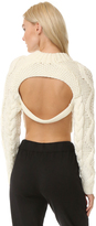 DKNY Cropped Pullover with Open Back