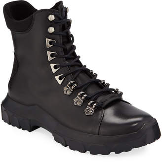 Karl Lagerfeld Paris Men's Leather Lace-Up Hiker Boots