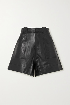 Ganni Leather Shorts - Black