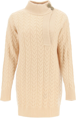 Max Mara MEDEA CABLE KNIT WOOL AND CASHMERE SWEATER M Beige Wool, Cashmere