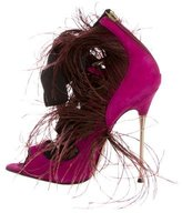 Brian Atwood Feather-Trimmed Lace-Up Sandals