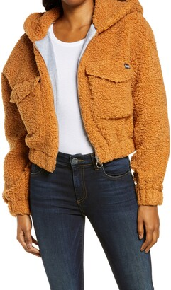 Hurley Faux Fur Hooded Bomber Jacket