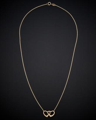 Italian Gold 14K Double Heart Necklace