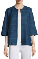 Misook Half-Sleeve Silk Textured Zip-Front Jacket