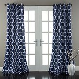 2 Piece Boys 84 Inch Navy Blue White Abstract Curtains Panel Pair Set, Blue Color Drapes All Over Circle Shapes Geometric Pattern Window Treatments Nursery Sports Themed Chains Kids, Teen Polyester