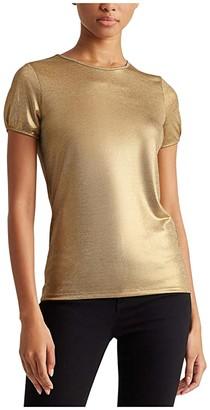 Lauren Ralph Lauren Petite Metallic Tee (Gold) Women's Clothing