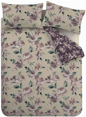 Catherine Lansfield Painted Floral Plum Bedding Set Single