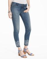 White House Black Market Embellished Hem Skinny Crop Jeans