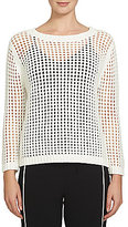 1 STATE Pointelle Cable Knit Crewneck Sweater