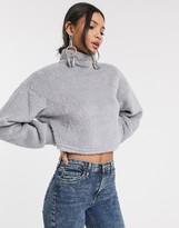 Bershka fleece sweater in gray