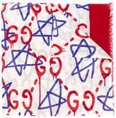 Gucci stars logo print scarf - women - Silk/Modal - One Size