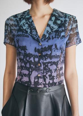 PRISCAVera Women's Button Down Printed Top in Ombre, Size Small   Silk