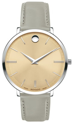 Movado Women's Ultra Slim Leather Strap Watch, 35mm