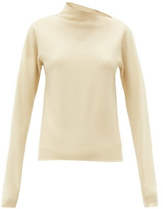 Lemaire Asymmetric-neck Wool-jersey Sweater - Ivory
