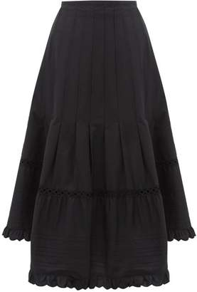 See by Chloe Asymmetric Hem Cotton-poplin Midi Skirt - Womens - Black