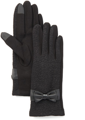 Jeanne Simmons Accessories Women's Casual Gloves black - Black Bow-Accent Gloves