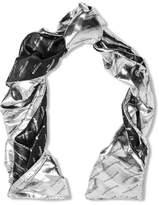 Balenciaga Metallic Silk-blend Jacquard Scarf - Silver