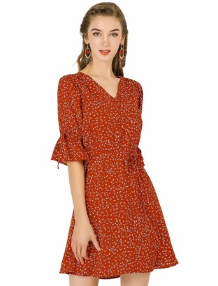 Allegra K Women's Summer V Neck Tie Waist Elbow Sleeves A-Line Floral Dress Red 12