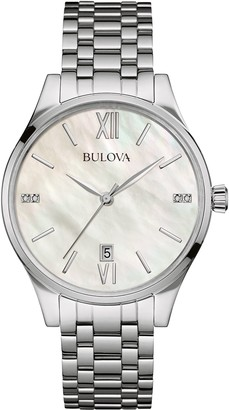 Bulova Diamond Women's Quartz Watch with Mother of Pearl Dial Analogue Display and Silver Stainless Steel Bracelet 96S161