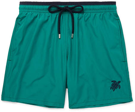 Vilebrequin Mokami Slim-Fit Mid-Length Embroidered Swim Shorts - Men - Teal
