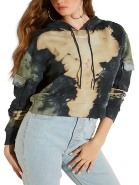 GUESS Tie-Dyed Cropped Hoodie