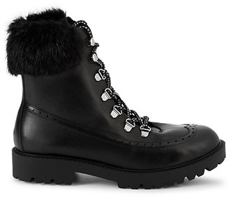 Charles David Raider Faux Fur Leather Combat Boots