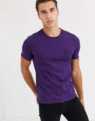 BOSS Tales box logo t-shirt in purple