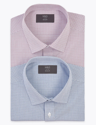 Marks and Spencer 2 Pack Regular Fit Check Short Sleeve Shirts