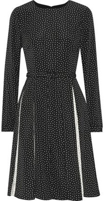 Mikael Aghal Belted Pleated Printed Crepe Dress