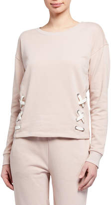 Lace-Up French Terry Pullover