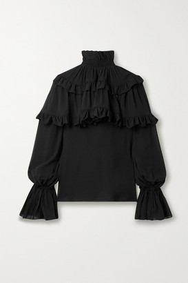 Saint Laurent Ruffled Tiered Silk-chiffon Blouse - Black