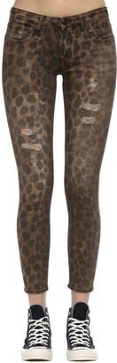 R 13 Kate Skinny Leopard Print Denim Jeans