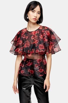 Topshop Womens Floral Print Ruffle Sheer Organza Blouse - Pink