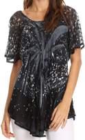 Sakkas 17781 - Mira Tie Dye Two Tone Sheer Cap Sleeve Relaxed Fit Embellished Tunic Top - OS