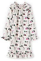 Lands' End Girls Flannel Nightgown-Ivory Scottie Dogs